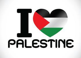 Coração e eu amo design de idéia de bandeira de faixa de Gaza vetor