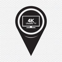 Ponteiro de mapa HD TV ícone vetor