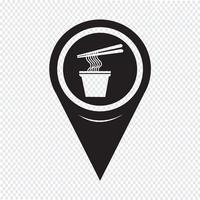 Mapa ponteiro macarrão ícone vetor