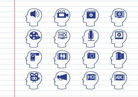 Cabeças pensantes e ícones de multimídia de filme de vídeo vetor