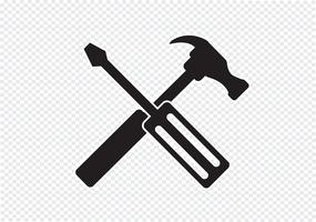Ícone de ferramentas e martelo vetor