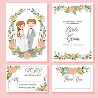 noiva bonito e noivo no modelo de cartão de convites de casamento
