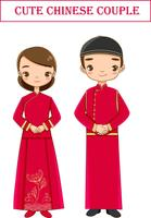 casal chinês bonito no personagem de desenho animado tradicional vestido vermelho