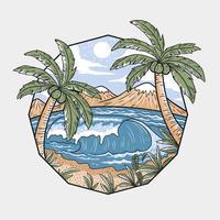 praia de verão. camadas editáveis de vetor