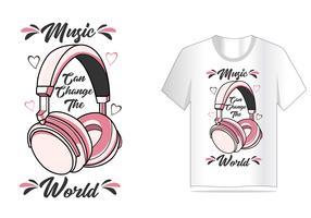 vetor de fone de ouvido para design de camisa de t