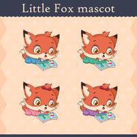 Conjunto de mascote de raposa bebê fofo - pose de surpresa vetor