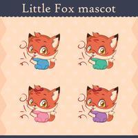Conjunto de mascote de raposa bebê fofo - pose travesso