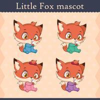Conjunto de mascote de raposa bebê fofo - beber pose v2