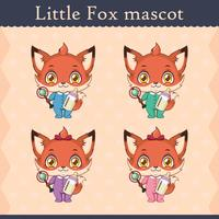 Conjunto de mascote de raposa bebê fofo - acessórios de bebê vetor