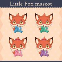 Conjunto de mascote de raposa bebê fofo - polegar sugando pose vetor