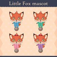 Conjunto de mascote de raposa bebê fofo - pose de equilíbrio vetor