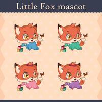 Conjunto de mascote de raposa bebê fofo - pose curioso