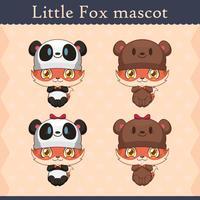 Conjunto de mascote de raposa bebê fofo - urso onesie vetor