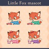 Conjunto de mascote de raposa bebê fofo - jogando pose vetor