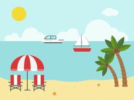 Cadeiras de praia e guarda-chuva na praia vetor