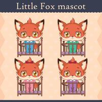 Conjunto de mascote de raposa bebê fofo - em um berço vetor