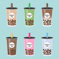 Chá da bolha ou chá de leite de pérola definir ilustração vetorial vetor