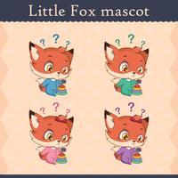 Conjunto de mascote de raposa bebê fofo - pose de pensamento vetor