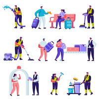 Conjunto de turistas plana e pessoal de serviço de limpeza em caracteres do aeroporto. Ferramentas de viagem de pessoas dos desenhos animados, bagagem, carrinho e Smartphones, equipamento de limpeza. Ilustração vetorial.