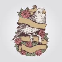 Camada editável de vetor Vintage Design de pássaro