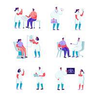 Conjunto de doação de sangue plana em uma instituição médica caracteres. Mulher dos povos dos desenhos animados na nomeação do doutor. Exame médico, ultra-som, voluntários doando sangue. Ilustração vetorial. vetor