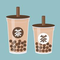 Chá de bolha ou ilustração em vetor chá leite de pérola