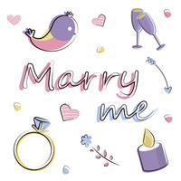 Conjunto de elementos planos vectoriais. Romance, amor, casamento, oferta