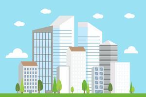Paisagem do centro da cidade, ilustração vetorial de edifício moderno vetor