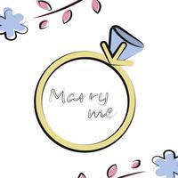Ilustração vetorial com anel de casamento no fundo branco e elementos florais