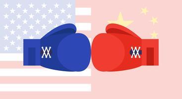 Luvas de boxe azul e vermelho com Estados Unidos e bandeira da China vetor