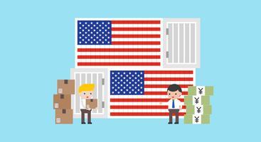 Guerra comercial sobre a China e EUA ilustração vetorial vetor
