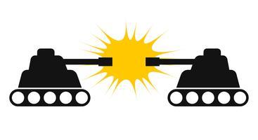 Silhueta de dois tanques de frente para o outro vector