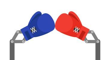 Luvas de boxe de brinquedo azul e vermelho braço ilustração vetorial vetor