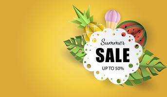 O papel da bandeira 3d do fundo do verão do vetor cortou com laço, gelado. Abacaxi e melancia da fruta. Flyer para vendas publicitárias