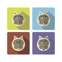 Conjunto de gato bonito dos desenhos animados com várias emoções vetor