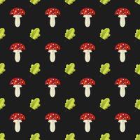 Padrão sem emenda colorido de cogumelos e folhas recortadas em papel