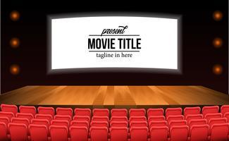 assentos vermelhos vazios no cinema com piso de madeira palco anunciar mock up