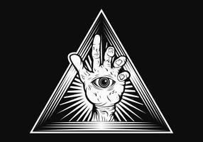 Ilustração em vetor triângulo mão zumbi