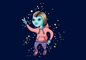 galáxia espaço dança ilustração vetorial de menina alienígena