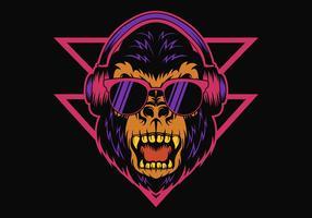 Gorilla Headphone Retro ilustração vetorial vetor