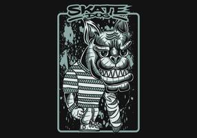 ilustração em vetor cachorro skate