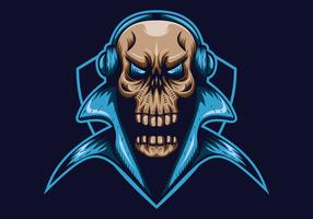 mascote de escudo de jogo de crânio e ilustração vetorial de esporte vetor