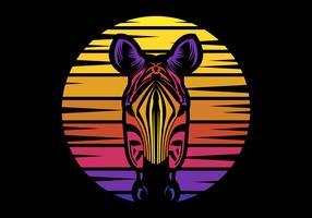 ilustração em vetor retrô pôr do sol zebra