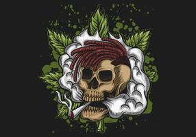 Ilustração em vetor de canábis de fumaça de crânio