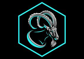 vetor de logotipo de crachá hexagonal de cabra