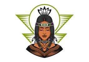 Ilustração em vetor linda garota nativa americana