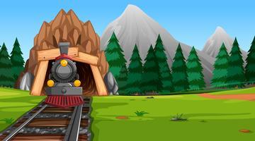 Viajar para a natureza de trem vetor