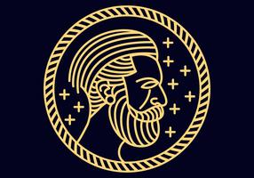 Homem, barba, monoline, vetorial, ilustração vetor