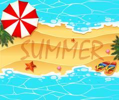 Fundo de tema de verão com praia e mar vetor
