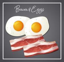 Café da manhã bacon e ovos vetor